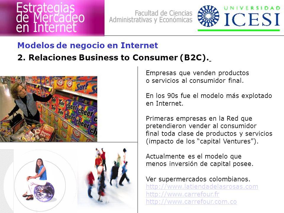 2. Relaciones Business to Consumer (B2C). Empresas que venden productos o servicios al consumidor final. En los 90s fue el modelo más explotado en Int