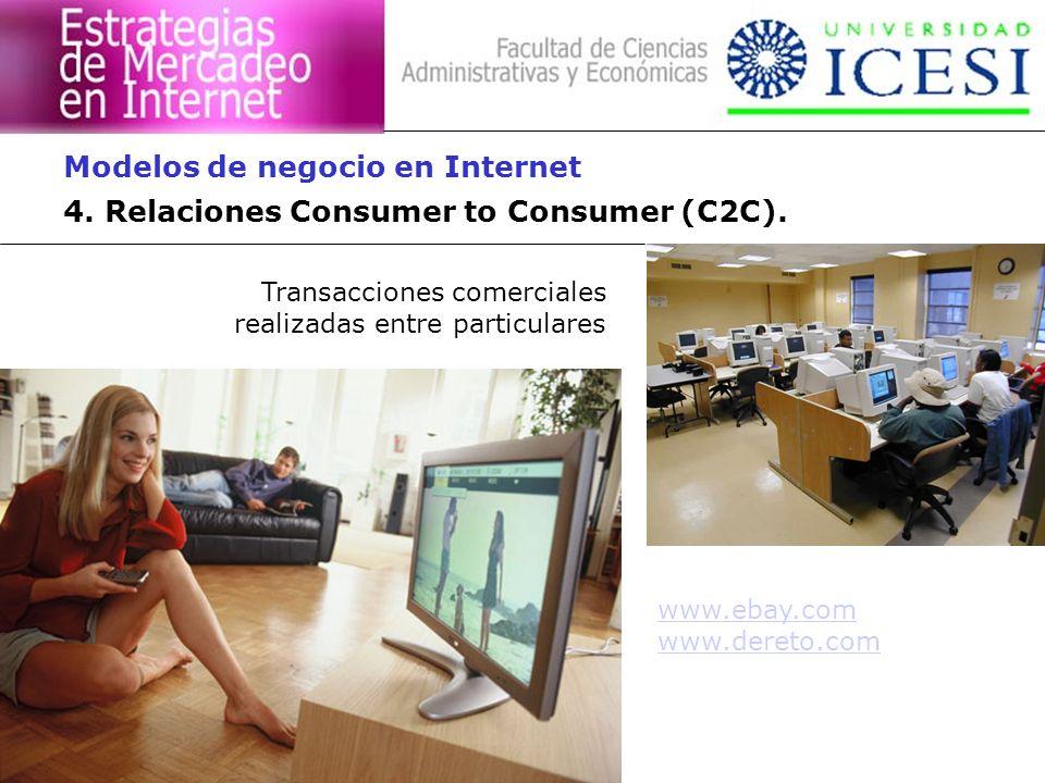 4. Relaciones Consumer to Consumer (C2C). Modelos de negocio en Internet Transacciones comerciales realizadas entre particulares www.ebay.com www.dere