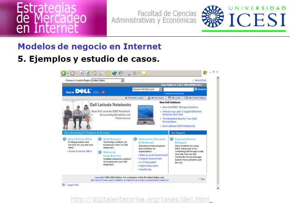 5. Ejemplos y estudio de casos. Modelos de negocio en Internet http://digitalenterprise.org/cases/dell.html