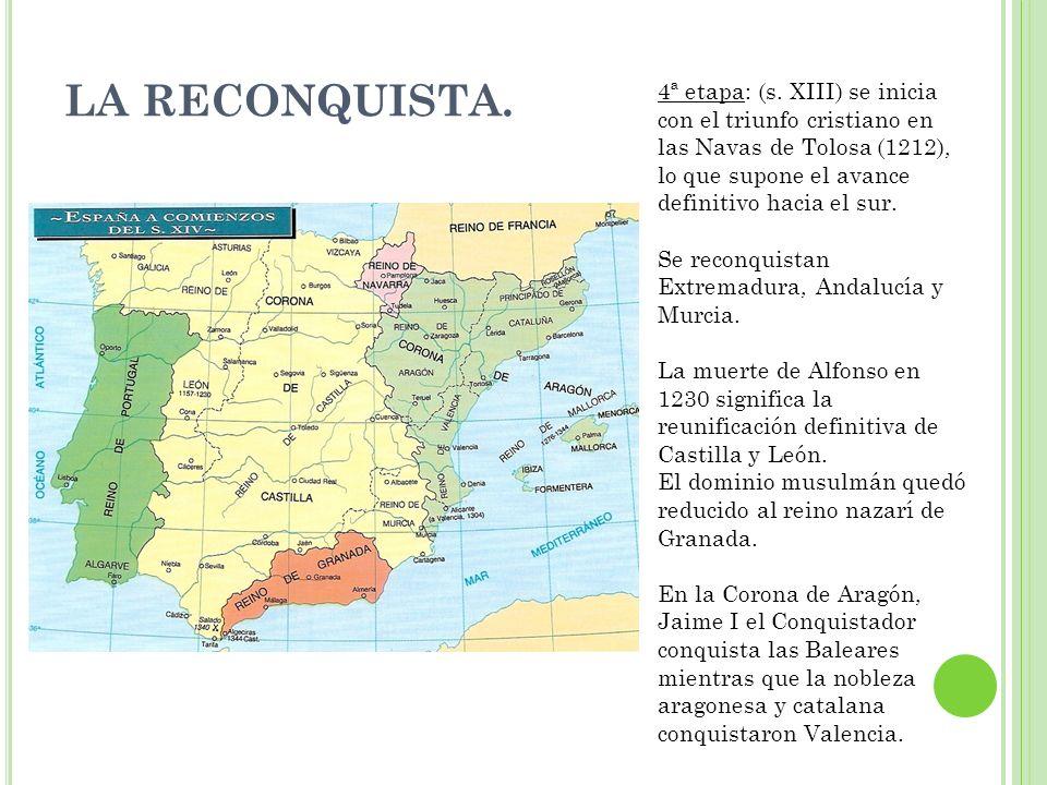 LA RECONQUISTA. 4ª etapa: (s. XIII) se inicia con el triunfo cristiano en las Navas de Tolosa (1212), lo que supone el avance definitivo hacia el sur.