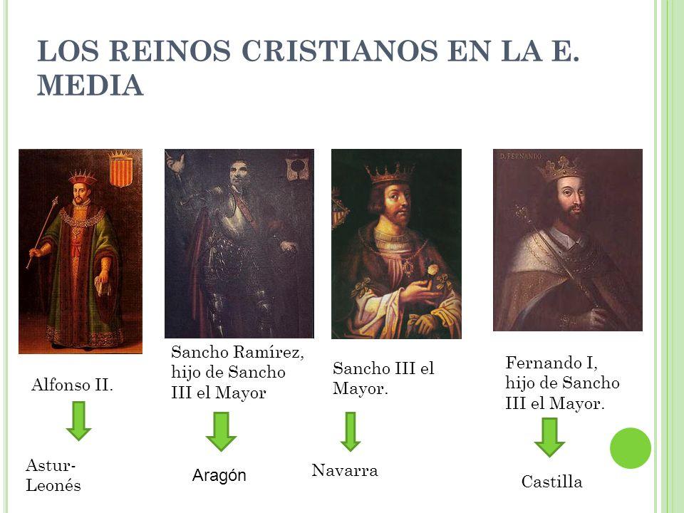 Alfonso II. Sancho Ramírez, hijo de Sancho III el Mayor Sancho III el Mayor. Fernando I, hijo de Sancho III el Mayor. Astur- Leonés Navarra Castilla A