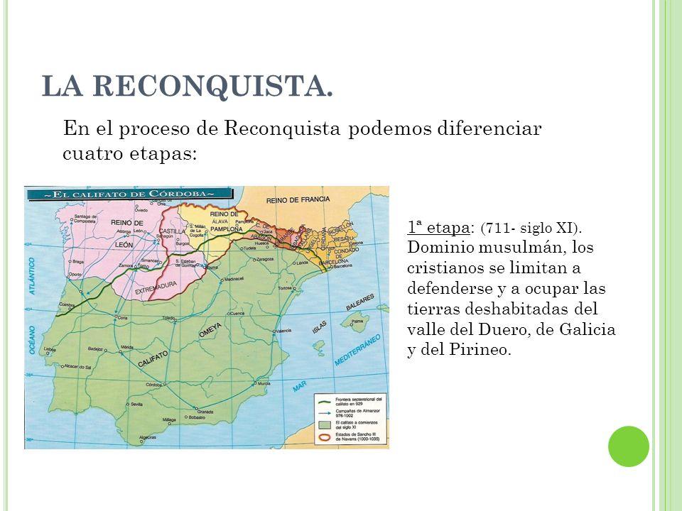 LA RECONQUISTA. En el proceso de Reconquista podemos diferenciar cuatro etapas: 1ª etapa: (711- siglo XI). Dominio musulmán, los cristianos se limitan