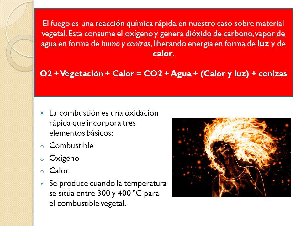 La combustión es una oxidación rápida que incorpora tres elementos básicos: o Combustible o Oxígeno o Calor. Se produce cuando la temperatura se sitúa