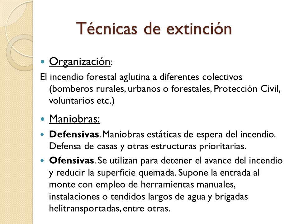 Técnicas de extinción Organización : El incendio forestal aglutina a diferentes colectivos (bomberos rurales, urbanos o forestales, Protección Civil,