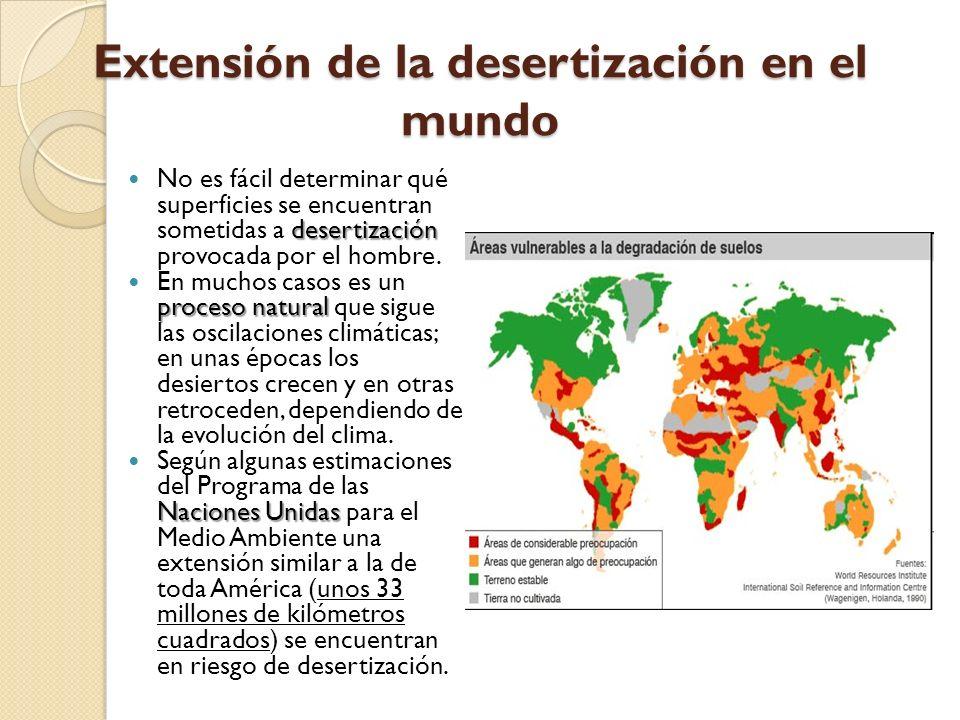 Extensión de la desertización en el mundo desertización No es fácil determinar qué superficies se encuentran sometidas a desertización provocada por e