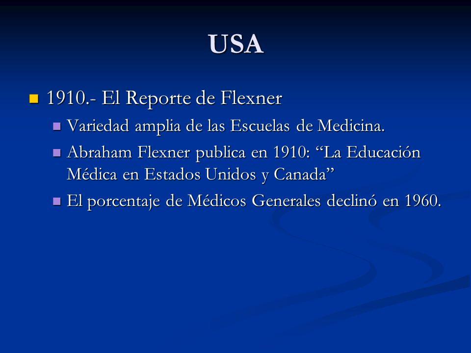 USA 1910.- El Reporte de Flexner 1910.- El Reporte de Flexner Variedad amplia de las Escuelas de Medicina. Variedad amplia de las Escuelas de Medicina
