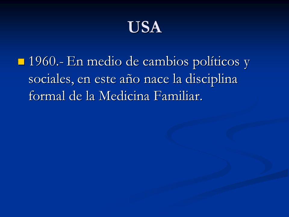 USA 1960.- En medio de cambios políticos y sociales, en este año nace la disciplina formal de la Medicina Familiar. 1960.- En medio de cambios polític