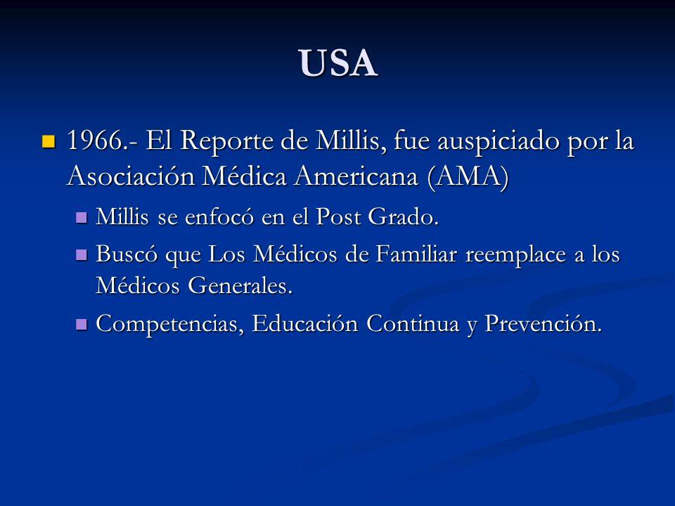 USA 1966.- El Reporte de Millis, fue auspiciado por la Asociación Médica Americana (AMA) 1966.- El Reporte de Millis, fue auspiciado por la Asociación