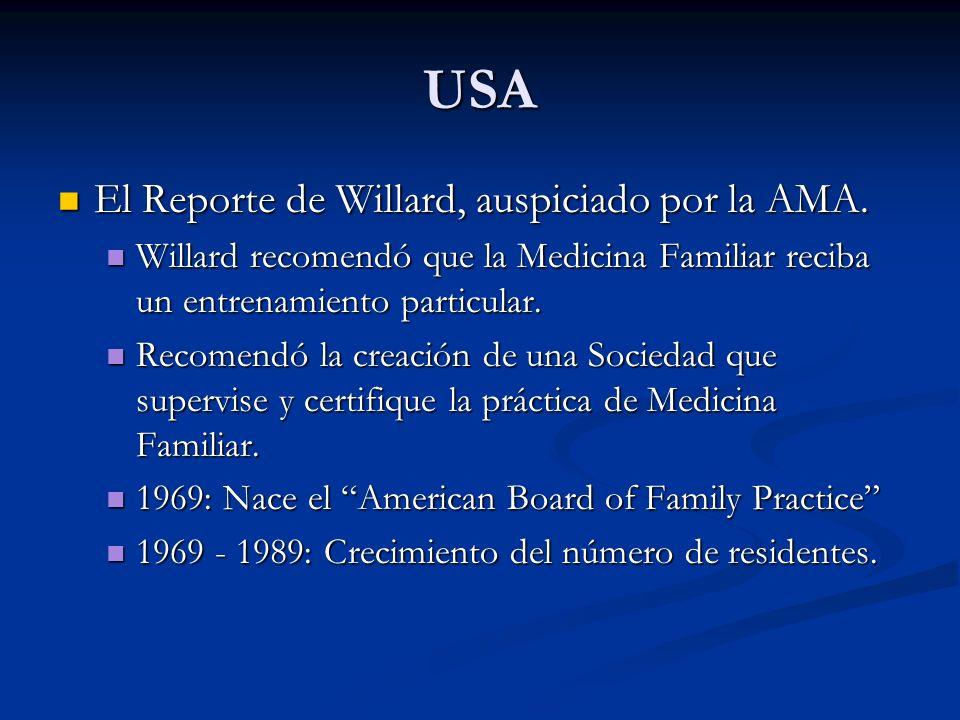 USA El Reporte de Willard, auspiciado por la AMA. El Reporte de Willard, auspiciado por la AMA. Willard recomendó que la Medicina Familiar reciba un e