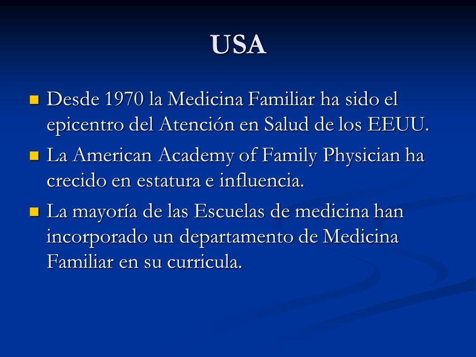 USA Desde 1970 la Medicina Familiar ha sido el epicentro del Atención en Salud de los EEUU. Desde 1970 la Medicina Familiar ha sido el epicentro del A