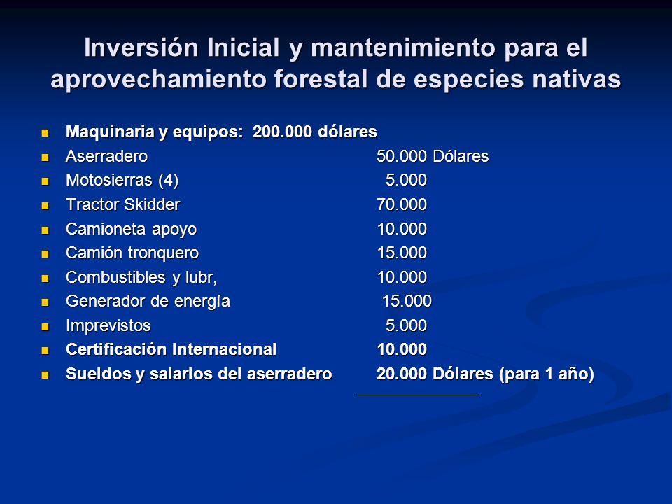 Inversión Inicial y mantenimiento para el aprovechamiento forestal de especies nativas Maquinaria y equipos: 200.000 dólares Maquinaria y equipos: 200