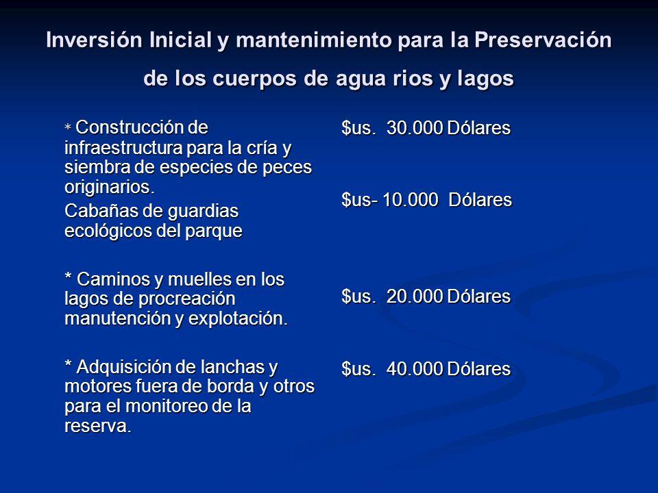 Inversión Inicial y mantenimiento para la Preservación de los cuerpos de agua rios y lagos * Construcción de infraestructura para la cría y siembra de