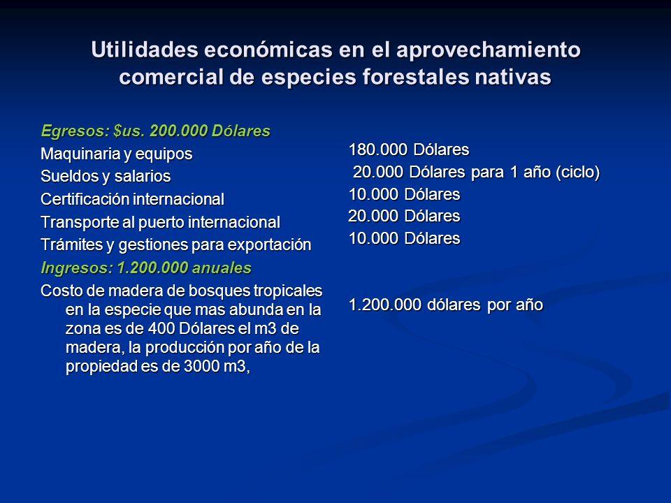 Utilidades económicas en el aprovechamiento comercial de especies forestales nativas Egresos: $us. 200.000 Dólares Maquinaria y equipos Sueldos y sala