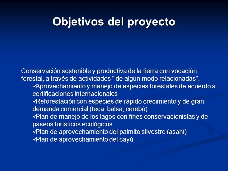 Objetivos del proyecto Conservación sostenible y productiva de la tierra con vocación forestal, a través de actividades de algún modo relacionadas. Ap