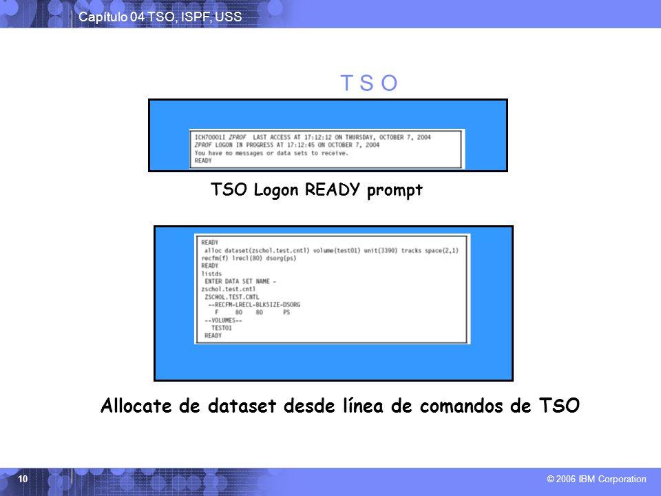 Capítulo 04 TSO, ISPF, USS © 2006 IBM Corporation 10 T S O TSO Logon READY prompt Allocate de dataset desde línea de comandos de TSO
