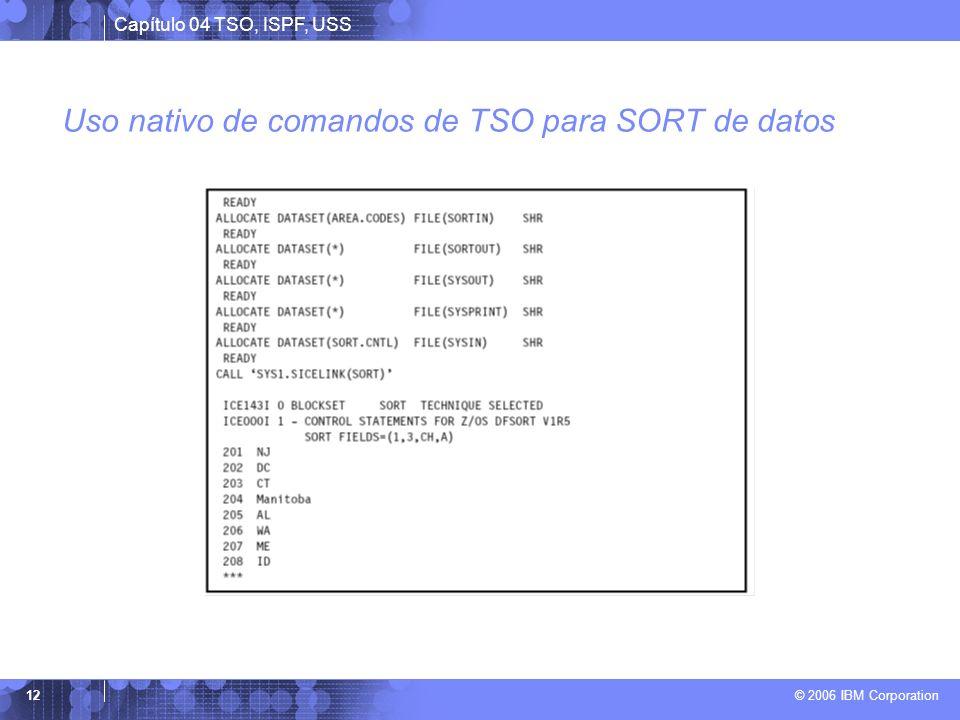Capítulo 04 TSO, ISPF, USS © 2006 IBM Corporation 12 Uso nativo de comandos de TSO para SORT de datos
