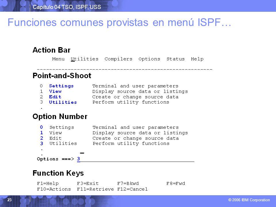 Capítulo 04 TSO, ISPF, USS © 2006 IBM Corporation 23 Funciones comunes provistas en menú ISPF…