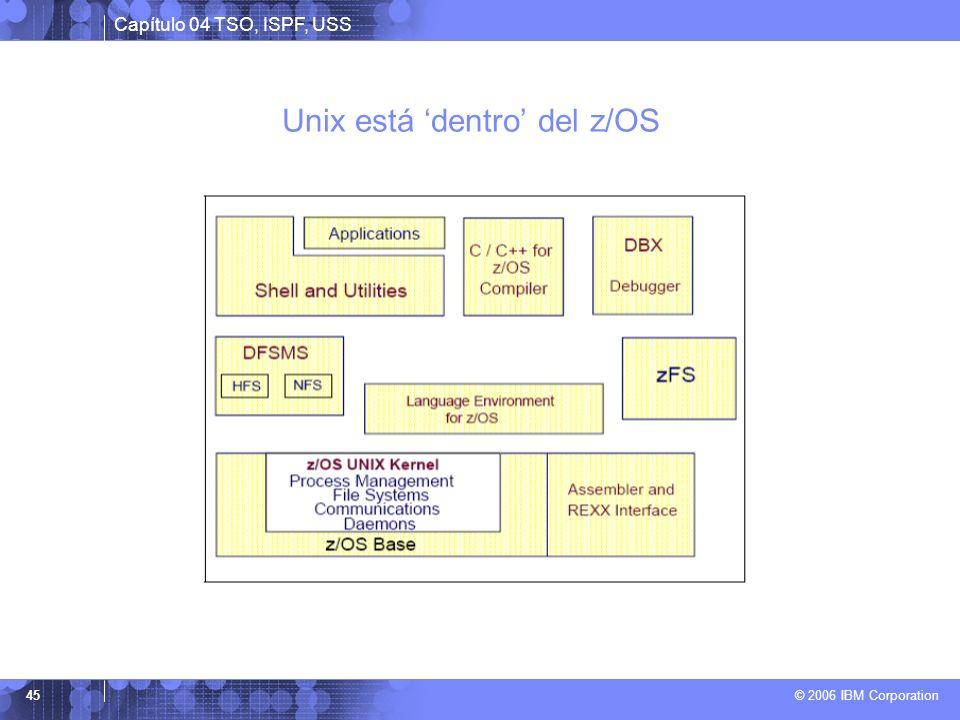 Capítulo 04 TSO, ISPF, USS © 2006 IBM Corporation 45 Unix está dentro del z/OS
