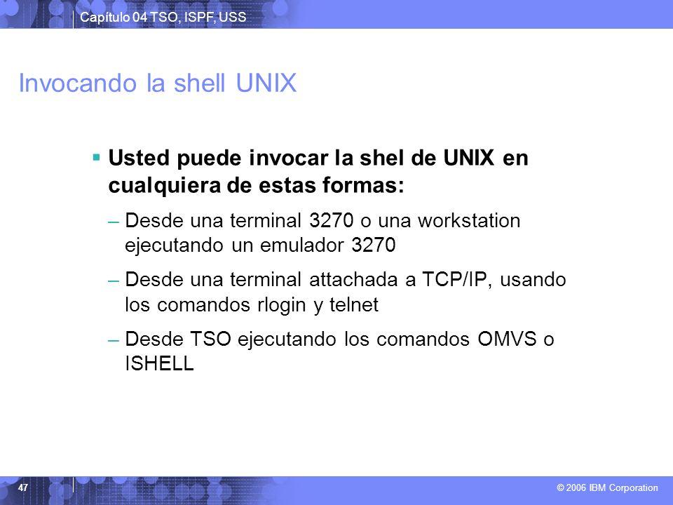 Capítulo 04 TSO, ISPF, USS © 2006 IBM Corporation 47 Invocando la shell UNIX Usted puede invocar la shel de UNIX en cualquiera de estas formas: –Desde