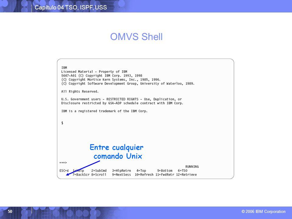 Capítulo 04 TSO, ISPF, USS © 2006 IBM Corporation 50 OMVS Shell Entre cualquier comando Unix