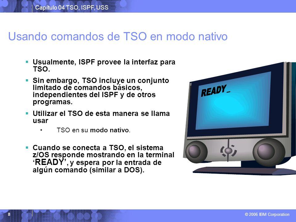 Capítulo 04 TSO, ISPF, USS © 2006 IBM Corporation 8 Usando comandos de TSO en modo nativo Usualmente, ISPF provee la interfaz para TSO. Sin embargo, T
