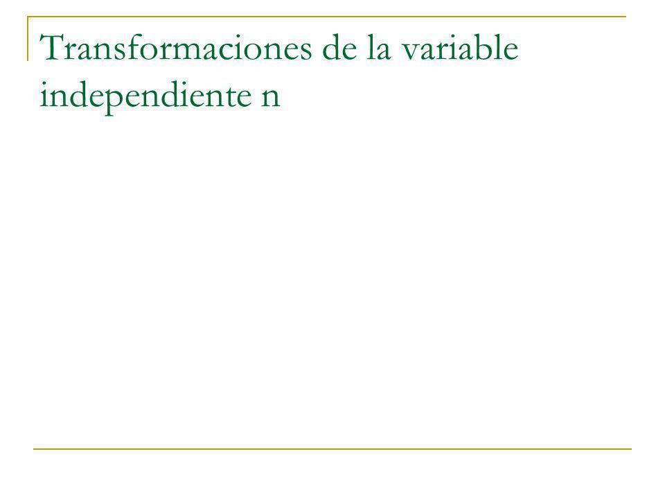 Transformaciones de la variable independiente n