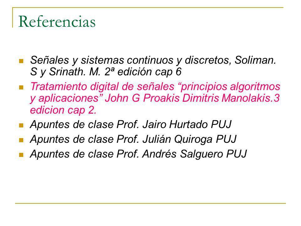 Referencias Señales y sistemas continuos y discretos, Soliman. S y Srinath. M. 2ª edición cap 6 Tratamiento digital de señales principios algoritmos y