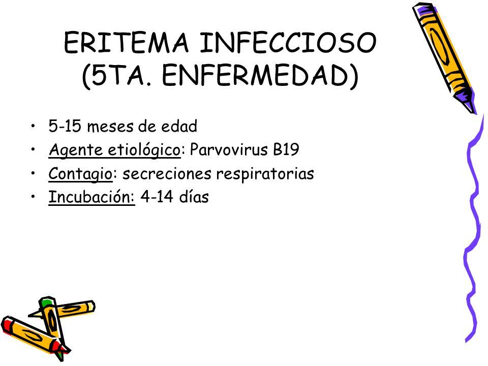 ERITEMA INFECCIOSO (5TA. ENFERMEDAD) 5-15 meses de edad Agente etiológico: Parvovirus B19 Contagio: secreciones respiratorias Incubación: 4-14 días