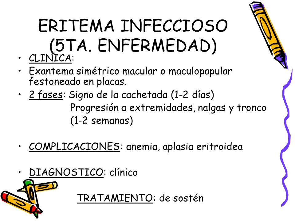 ERITEMA INFECCIOSO (5TA. ENFERMEDAD) CLINICA: Exantema simétrico macular o maculopapular festoneado en placas. 2 fases: Signo de la cachetada (1-2 día