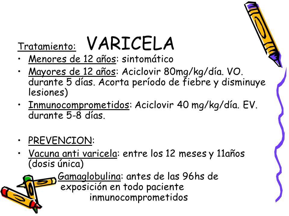 VARICELA Tratamiento: Menores de 12 años: sintomático Mayores de 12 años: Aciclovir 80mg/kg/día. VO. durante 5 días. Acorta período de fiebre y dismin