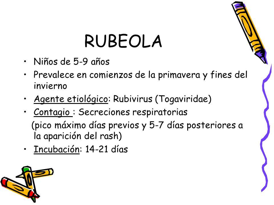 RUBEOLA Niños de 5-9 años Prevalece en comienzos de la primavera y fines del invierno Agente etiológico: Rubivirus (Togaviridae) Contagio : Secrecione