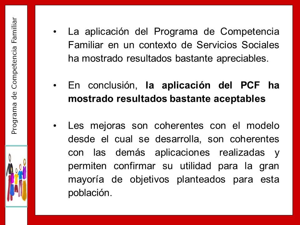Programa de Competencia Familiar La aplicación del Programa de Competencia Familiar en un contexto de Servicios Sociales ha mostrado resultados bastan