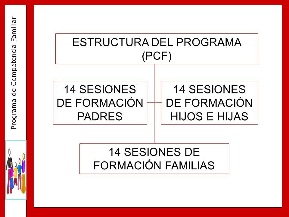 Programa de Competencia Familiar RECIBIMIENTO DE LAS FAMILIAS SESIÓN DE PADRES Y MADRES SESIÓN DE HIJOS E HIJAS SESIÓN FAMILIAR EVALUACIÓN DE LAS SESIONES Sesiones en paralelo Sesión conjunta