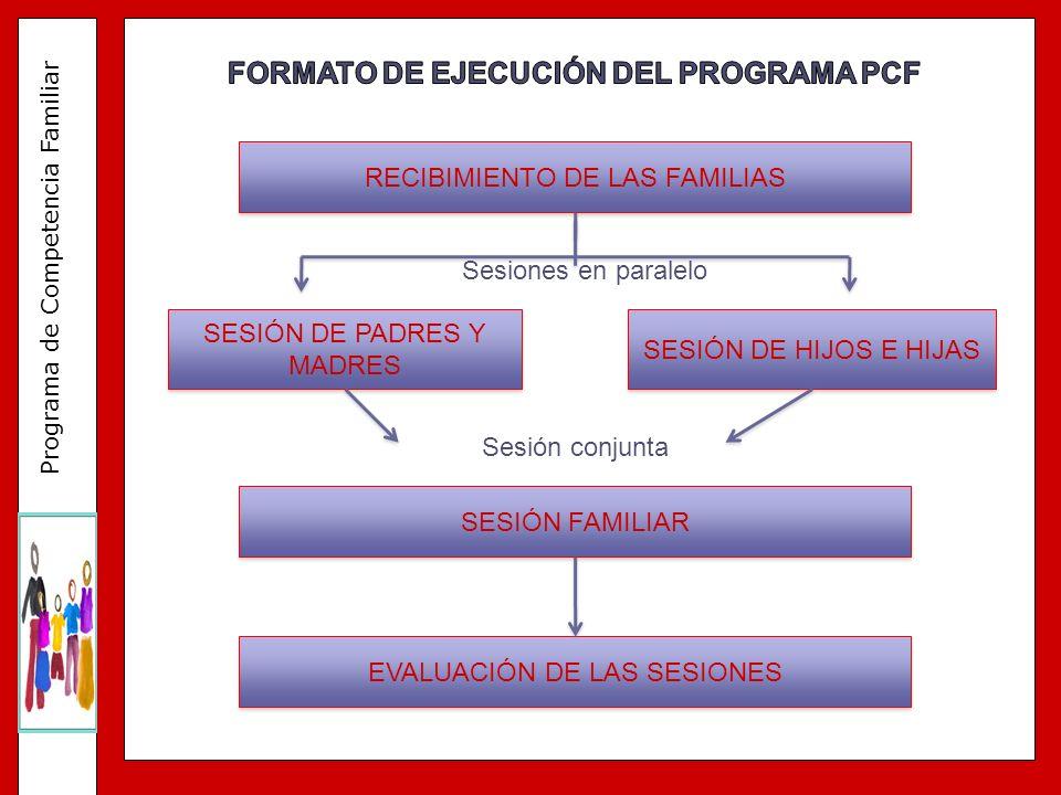 Programa de Competencia Familiar RECIBIMIENTO DE LAS FAMILIAS SESIÓN DE PADRES Y MADRES SESIÓN DE HIJOS E HIJAS SESIÓN FAMILIAR EVALUACIÓN DE LAS SESI