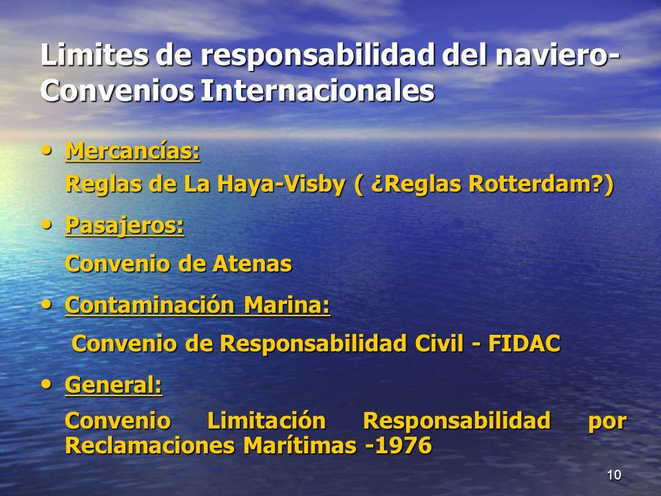 Limites de responsabilidad del naviero- Convenios Internacionales Mercancías: Mercancías: Reglas de La Haya-Visby ( ¿Reglas Rotterdam?) Pasajeros: Pas
