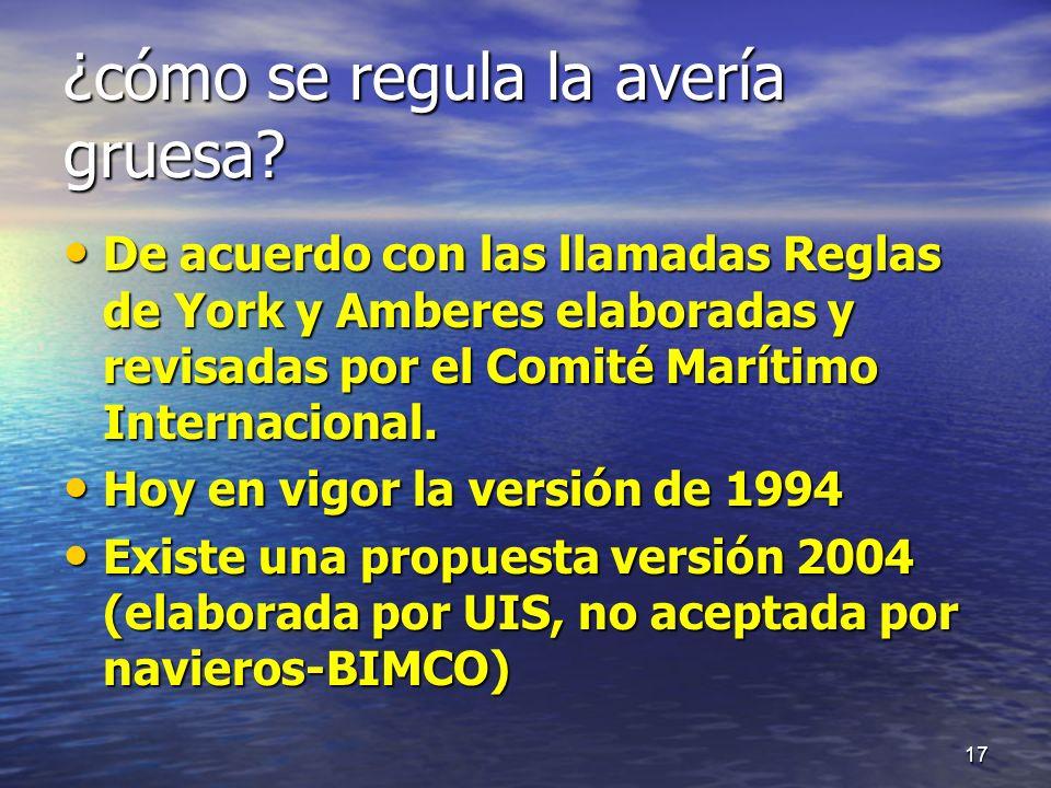 ¿cómo se regula la avería gruesa? De acuerdo con las llamadas Reglas de York y Amberes elaboradas y revisadas por el Comité Marítimo Internacional. De