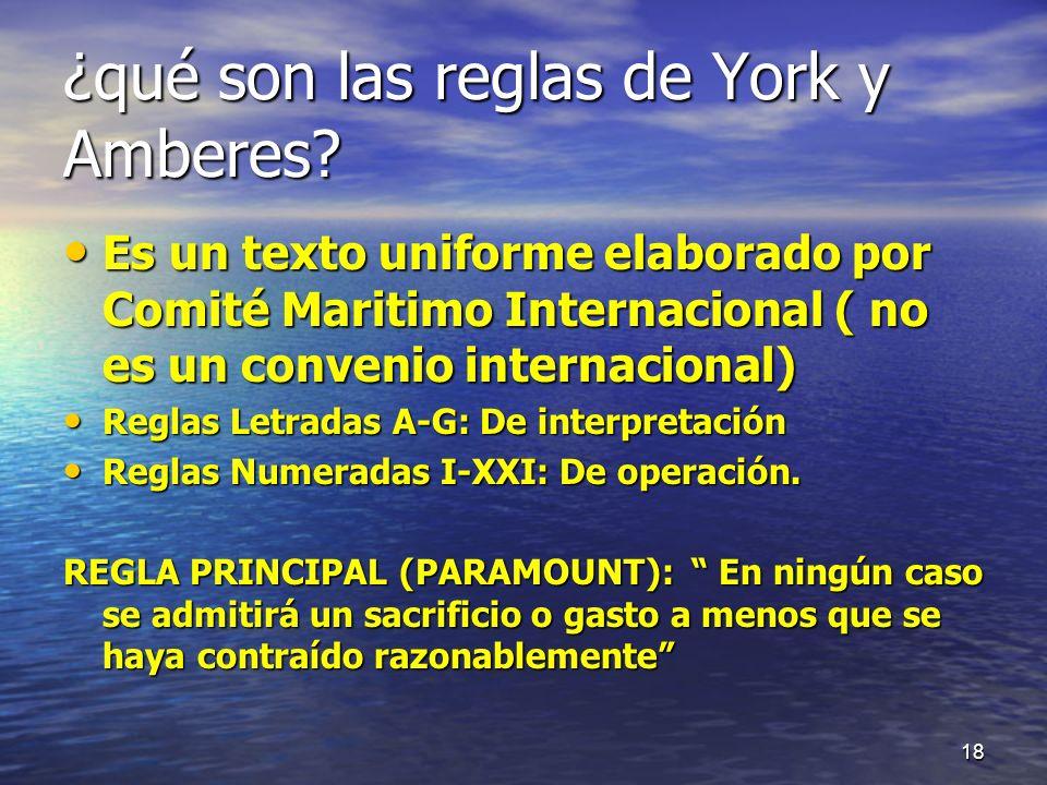 ¿qué son las reglas de York y Amberes? Es un texto uniforme elaborado por Comité Maritimo Internacional ( no es un convenio internacional) Es un texto