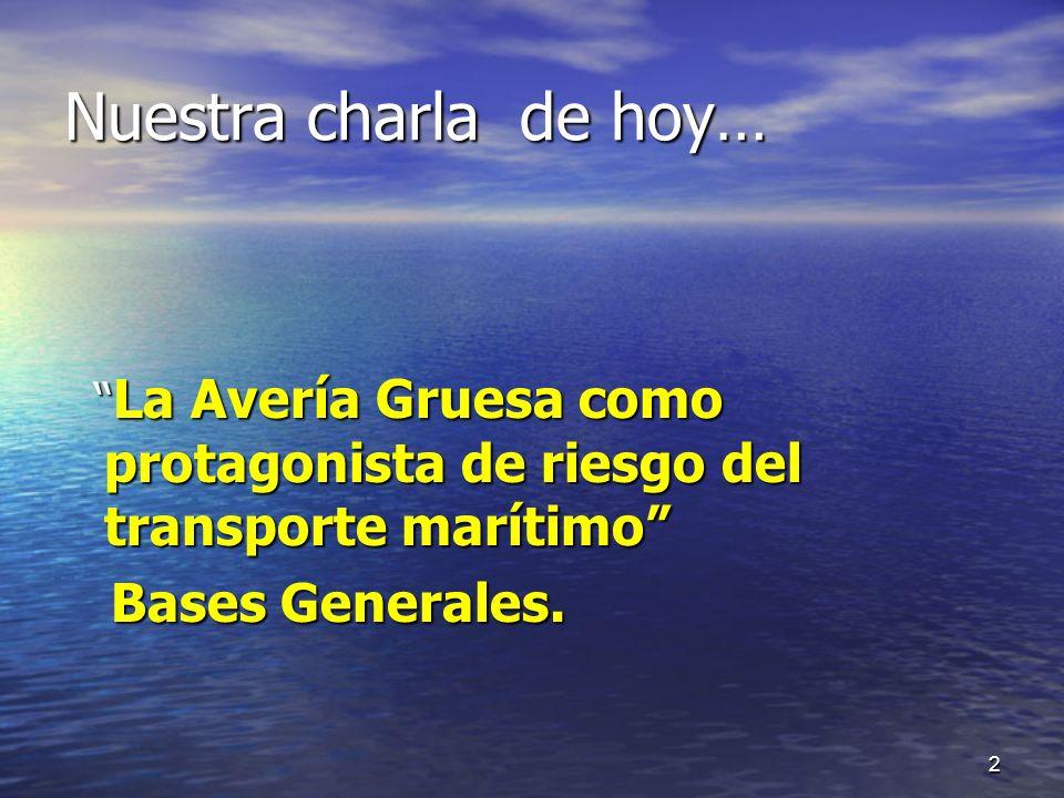 Nuestra charla de hoy… La Avería Gruesa como protagonista de riesgo del transporte marítimo La Avería Gruesa como protagonista de riesgo del transport
