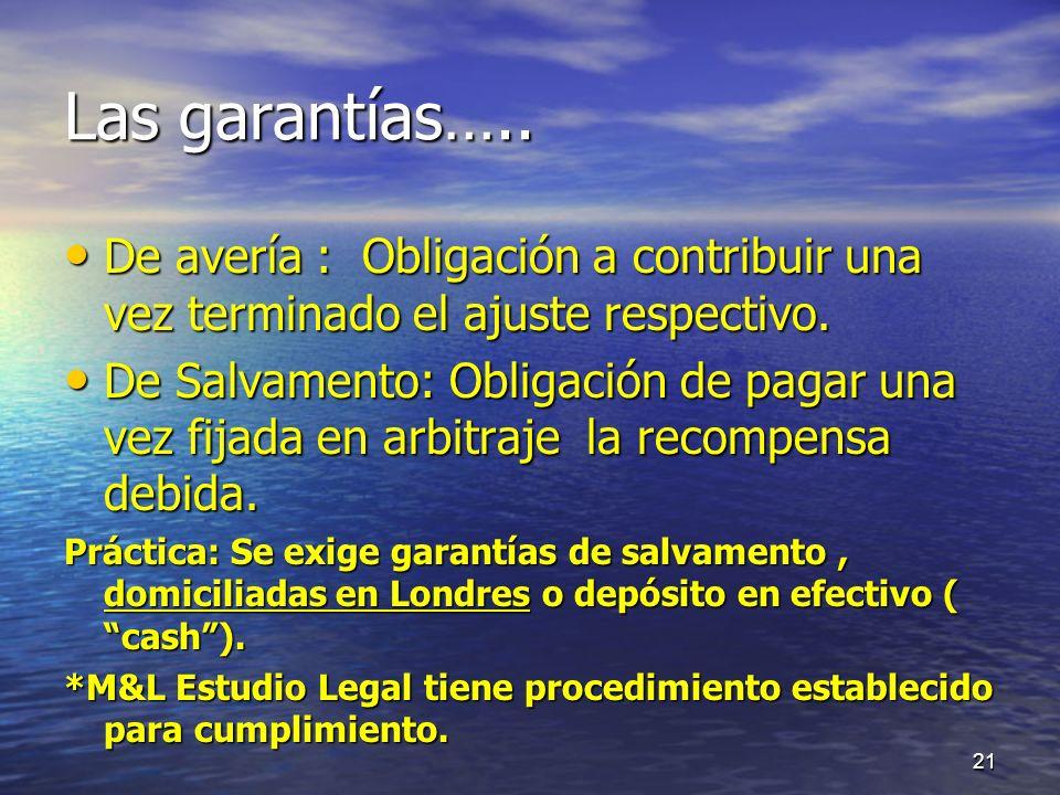 Las garantías….. De avería : Obligación a contribuir una vez terminado el ajuste respectivo. De avería : Obligación a contribuir una vez terminado el