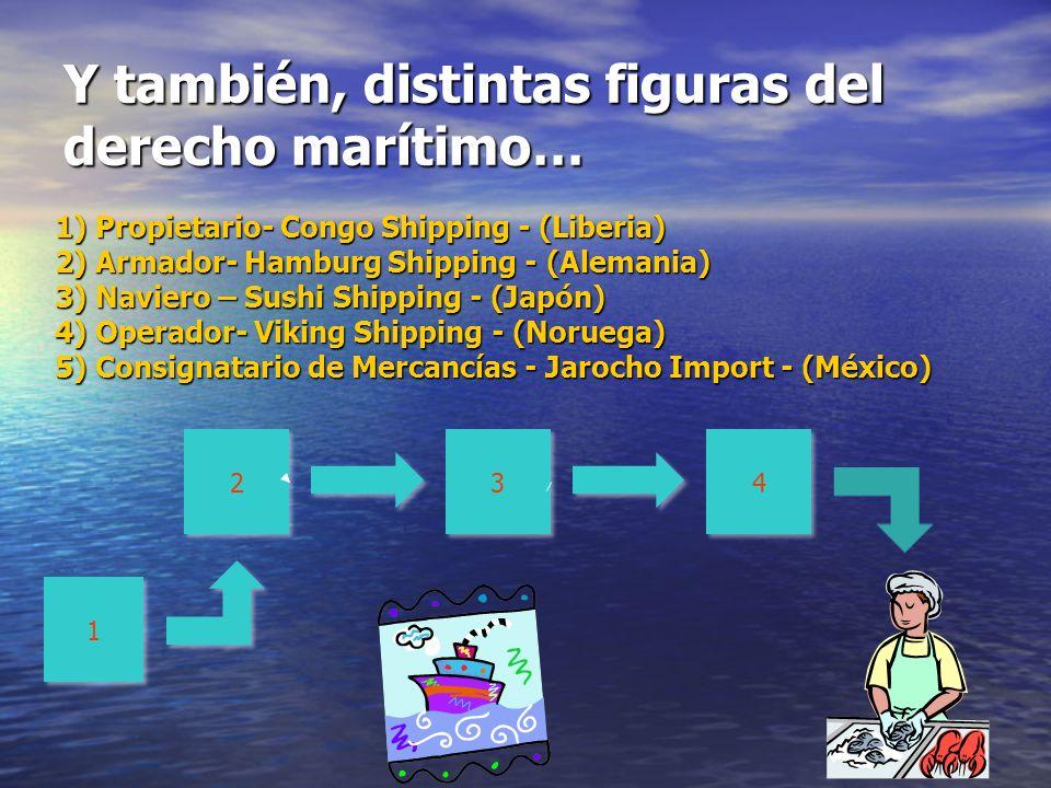 7 Y también, distintas figuras del derecho marítimo… 1) Propietario- Congo Shipping - (Liberia) 2) Armador- Hamburg Shipping - (Alemania) 3) Naviero –
