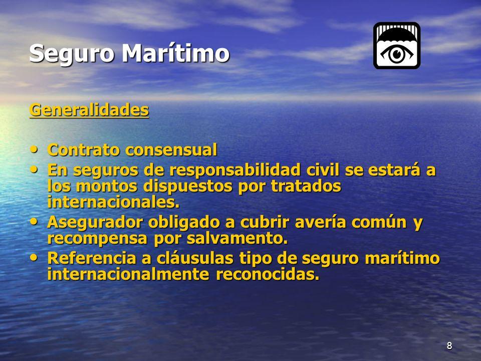 8 Seguro Marítimo Generalidades Contrato consensual Contrato consensual En seguros de responsabilidad civil se estará a los montos dispuestos por trat