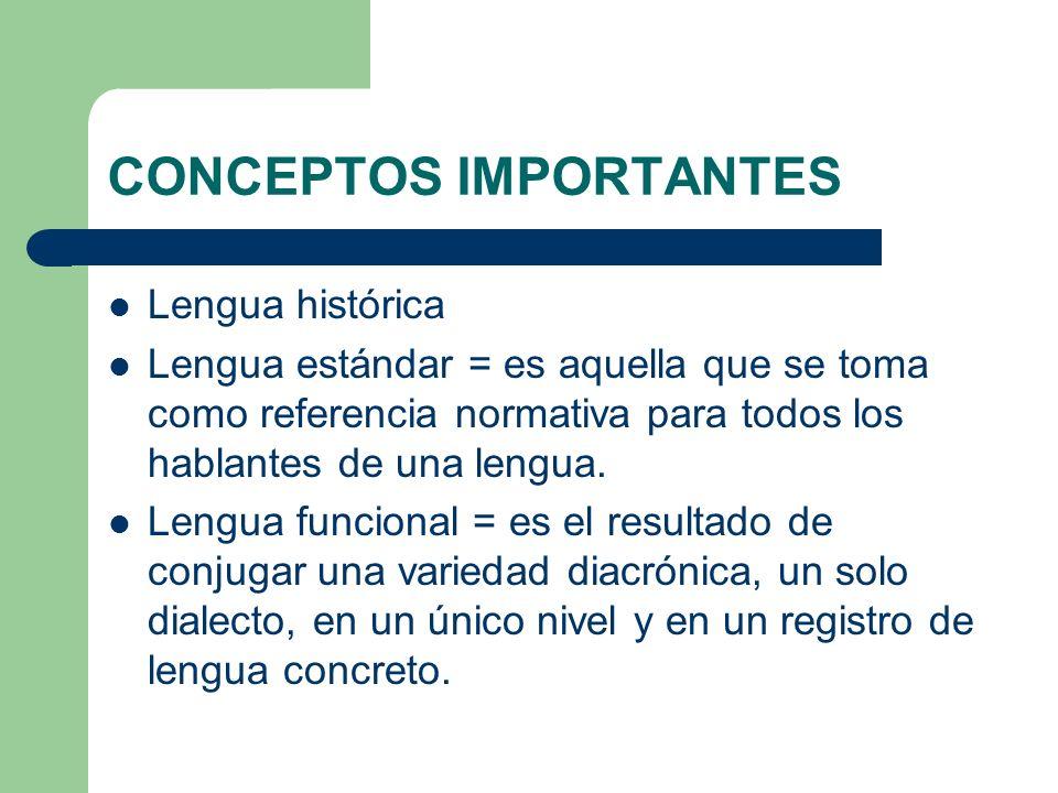 CONCEPTOS IMPORTANTES Lengua histórica Lengua estándar = es aquella que se toma como referencia normativa para todos los hablantes de una lengua. Leng