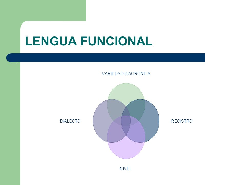LENGUA FUNCIONAL VARIEDAD DIACRÓNICA REGISTRO NIVEL DIALECTO