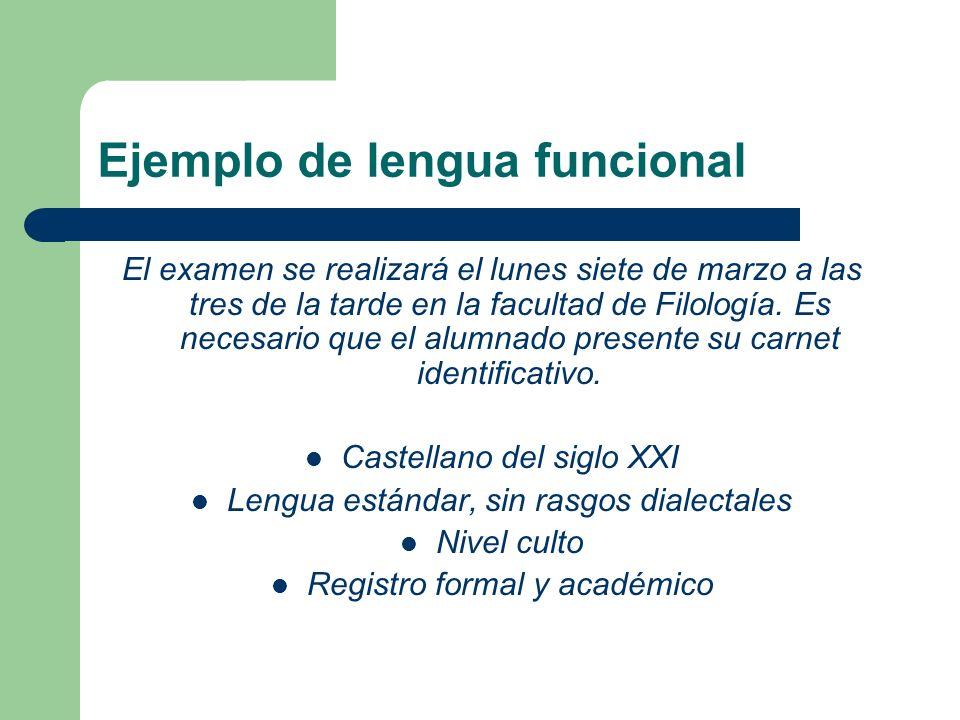 Ejemplo de lengua funcional El examen se realizará el lunes siete de marzo a las tres de la tarde en la facultad de Filología. Es necesario que el alu