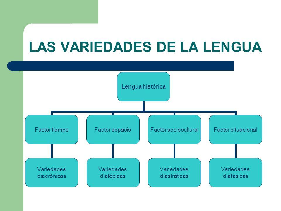 LAS VARIEDADES DE LA LENGUA Lengua histórica Factor tiempo Variedades diacrónicas Factor espacio Variedades diatópicas Factor sociocultural Variedades