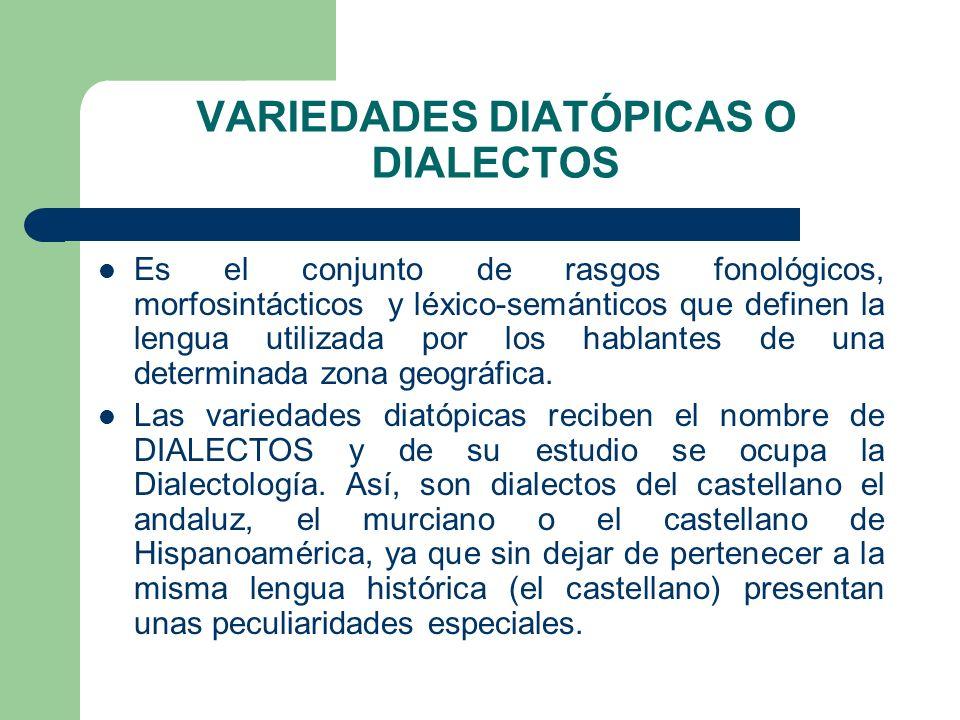 VARIEDADES DIATÓPICAS O DIALECTOS Es el conjunto de rasgos fonológicos, morfosintácticos y léxico-semánticos que definen la lengua utilizada por los h