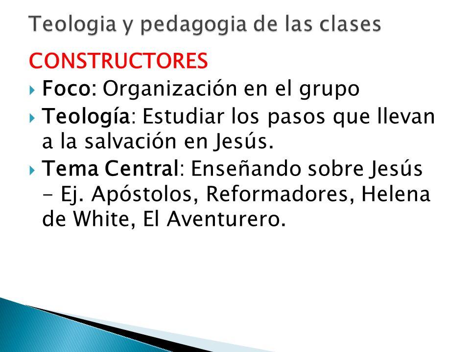 CONSTRUCTORES Foco: Organización en el grupo Teología: Estudiar los pasos que llevan a la salvación en Jesús. Tema Central: Enseñando sobre Jesús - Ej