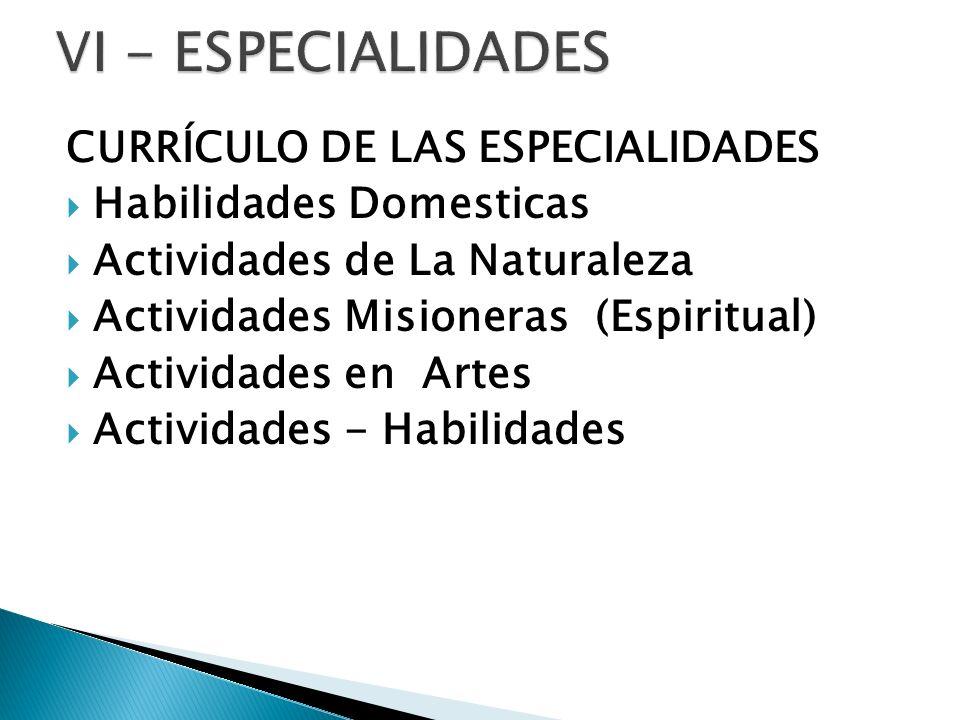 CURRÍCULO DE LAS ESPECIALIDADES Habilidades Domesticas Actividades de La Naturaleza Actividades Misioneras (Espiritual) Actividades en Artes Actividad