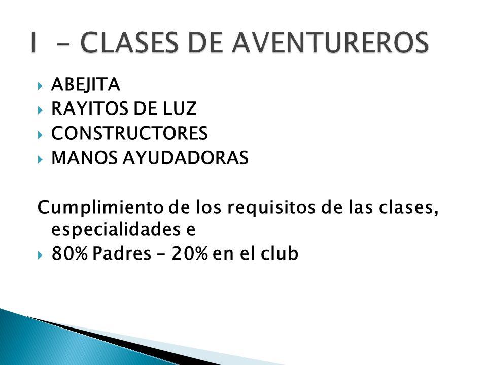 ABEJITA RAYITOS DE LUZ CONSTRUCTORES MANOS AYUDADORAS Cumplimiento de los requisitos de las clases, especialidades e 80% Padres – 20% en el club