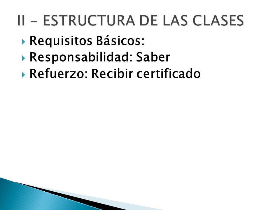 Requisitos Básicos: Responsabilidad: Saber Refuerzo: Recibir certificado